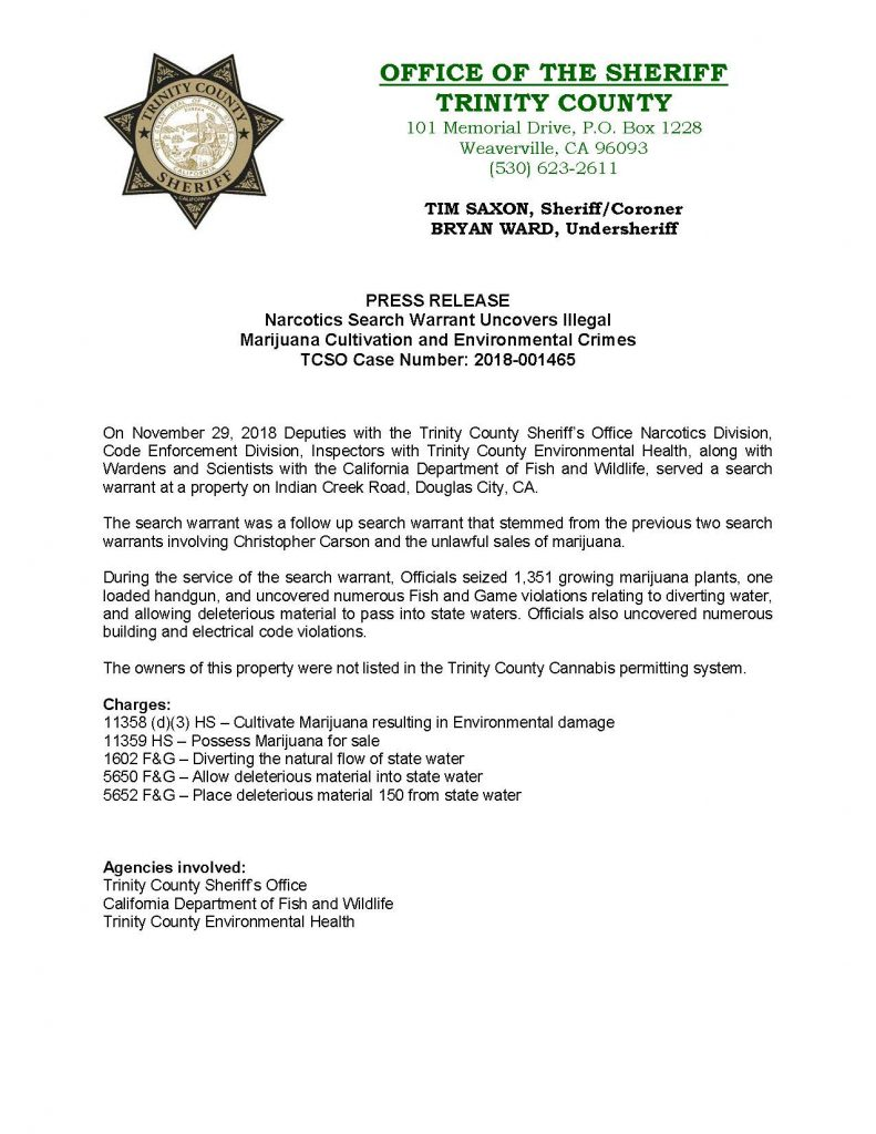 TCSO PRess release
