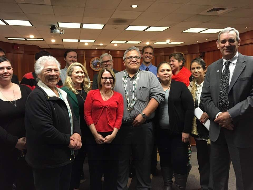 Wiyot Tribal Council and Eureka City Council after historic vote that returns Island to the native people.