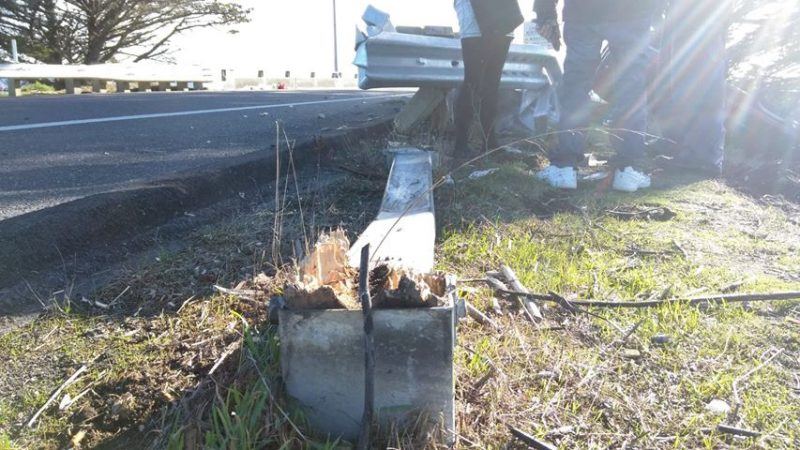 The guardrail is sheared off.