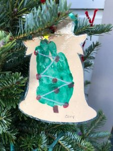 Stolen ornament stamped with the handprint of the young son of Ferndale Music's owner.