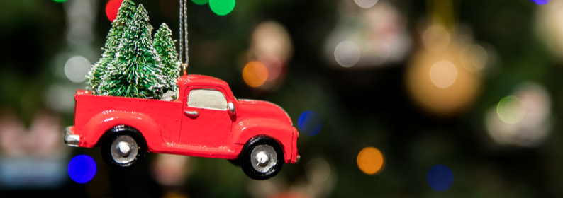 Red pickup christmas tree ornament