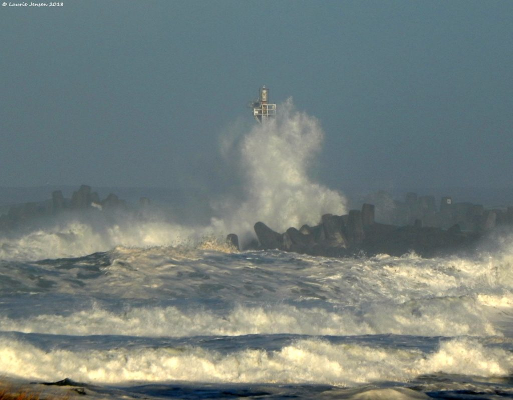 The wild wave action as seen from the South Jetty area yesterday.