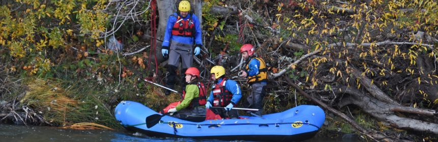 Southern Humboldt County Technical Rescue team getting ready to raft the body to the Mendocino County Coroner.
