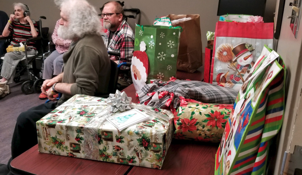 Gifts including lap blankets created by the 4-H craft club were given to the seniors.