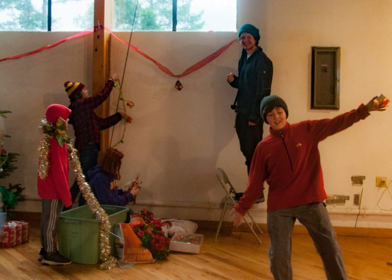 The kids had a great time setting up.