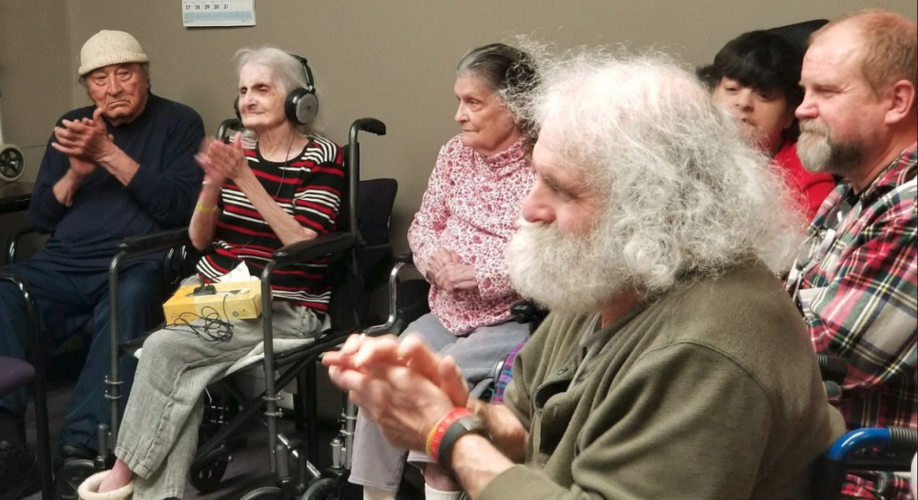 The seniors clapped and some sang along.