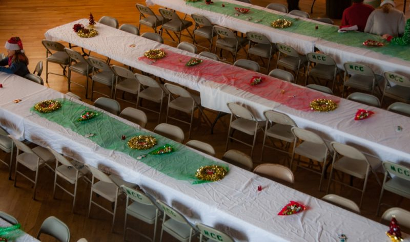 The tables were festooned with bright spangles.