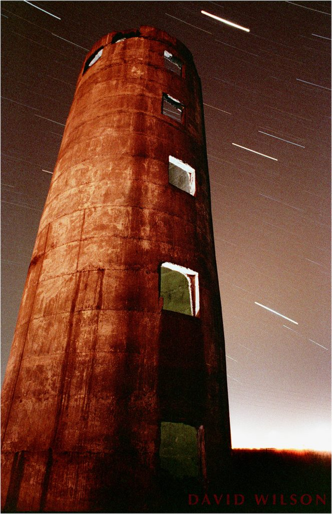 The Tower standing at the end of V Street in Arcata, near the Marsh. Photographed in 1990.
