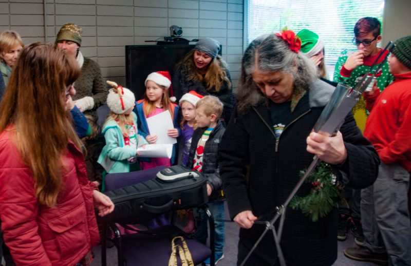 Vicky Cassar brought her ukulele to add a note of joy.