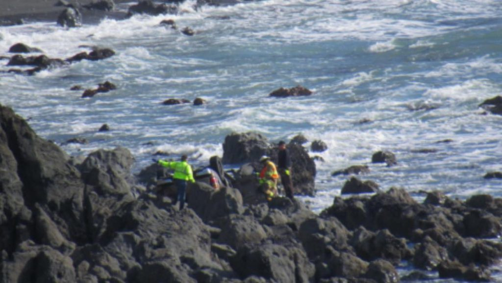 Searchers attempting to find any survivors after the Hart Family crash off Hwy 1.