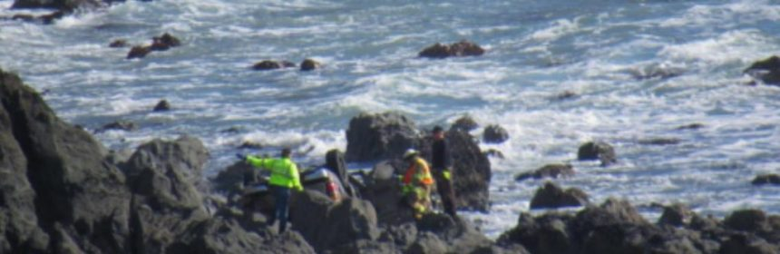 Searchers attempting to find any survivors after the Hart Family crash off Hwy 1. [Photo used with permission from MendocinoSportsPlus