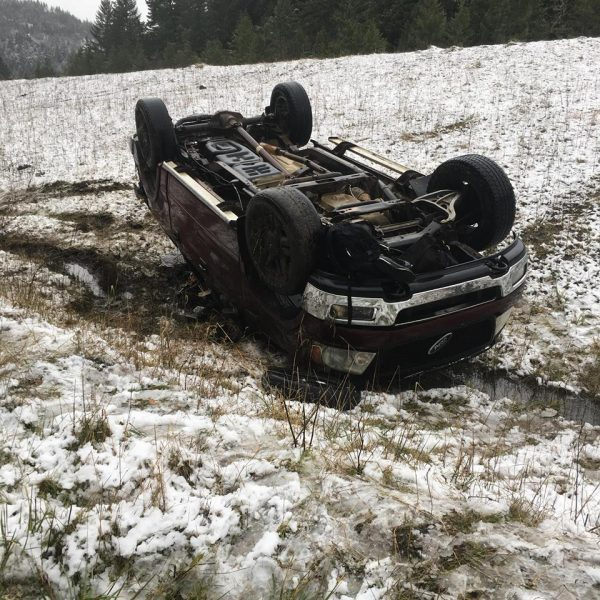 Overturned truck off of Titlow Hill Road.