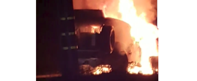 Jeep on fire.