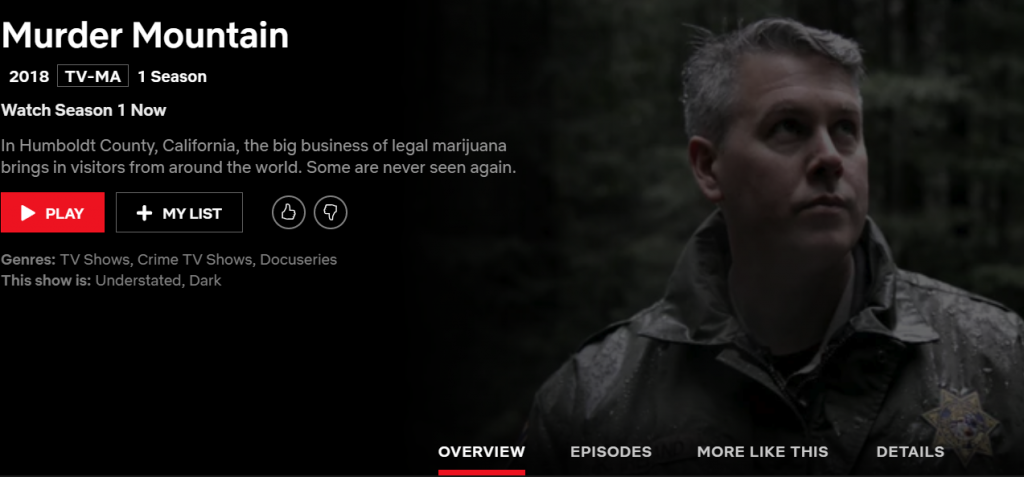 Screengrab from the Netflix page for Murder Mountain showing HCSO Sgt. Kerry Ireland.