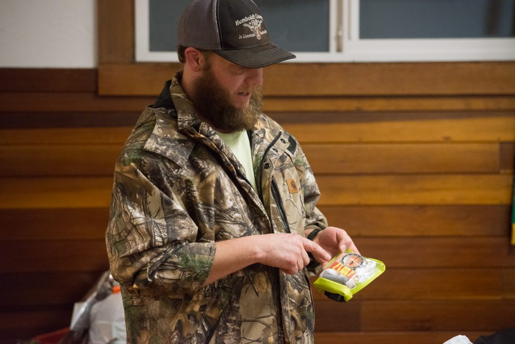 Justin Lehnert gave a presentation on basic survival skills and talked about having a small emergency kit in his vehicle at all times.