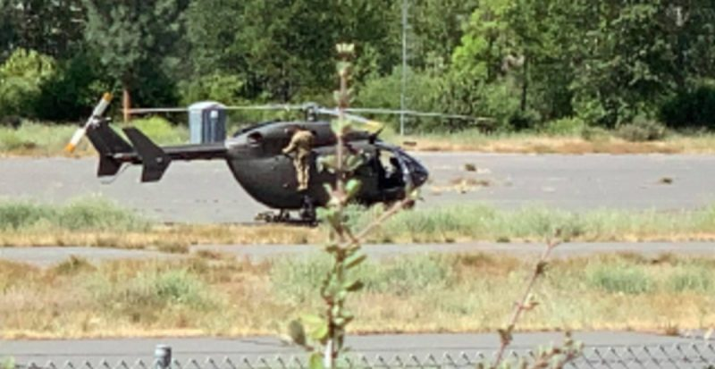 National Guard helicopter in Hayfork