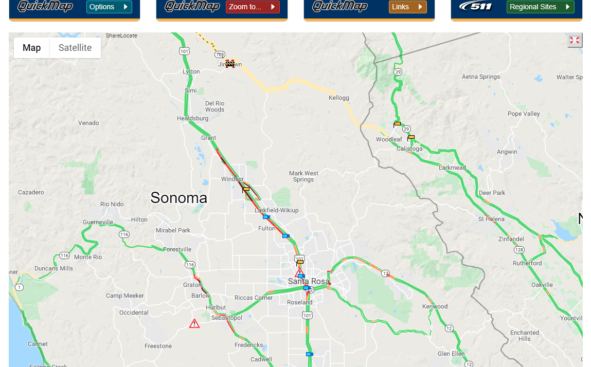 Screenshot of Caltrans' Quickmap as of 2:37 p.m.