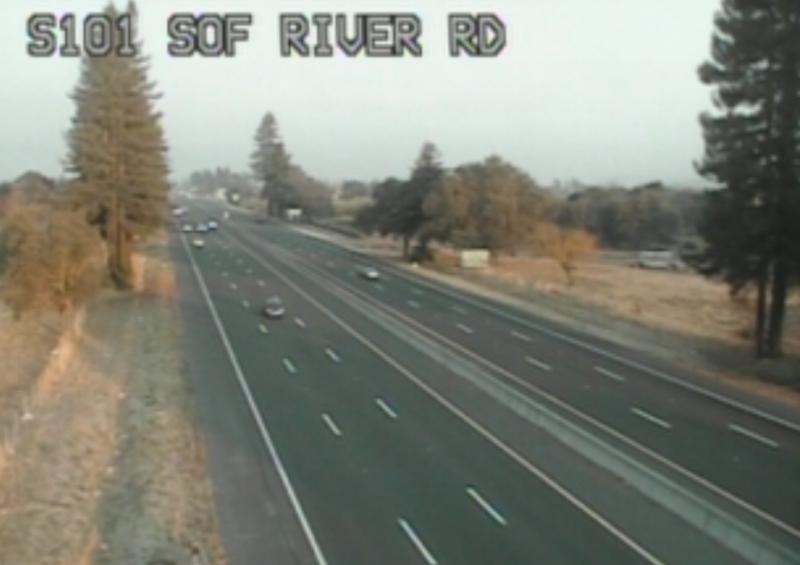 Screenshot from a Caltrans Traffic camera just north of Santa Rosa.