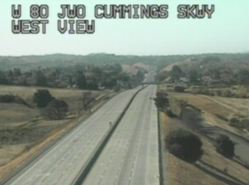 Caltrans Traffic Cam showing an empty I-80.