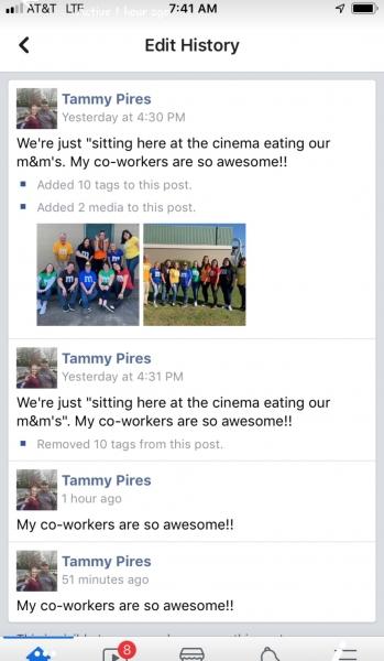 Facebook screenshot of Tammy Pires post