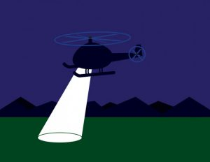 Helicopter with spotlight