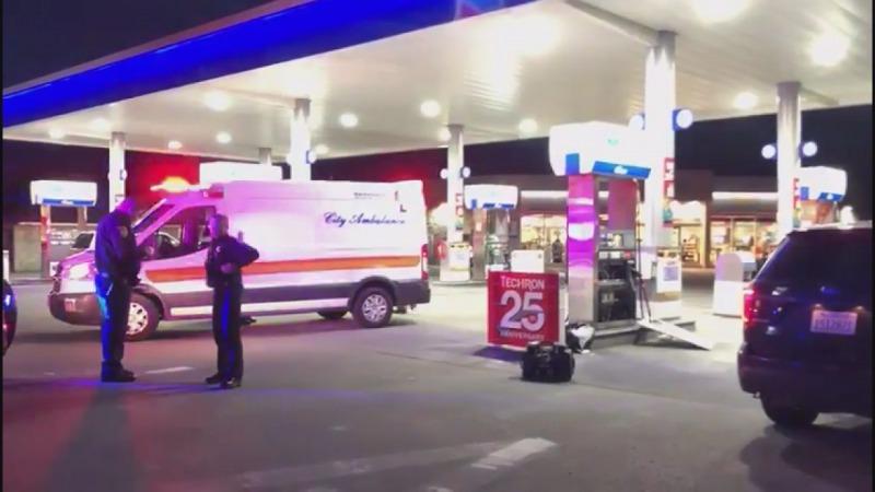 Ambulance at the scene of tonight's stabbing.