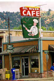 Eel River Cafe's profile photo on Facebook is their famous pancake flipper neon sign.