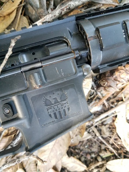 closeup of Short-barreled AR Rifle
