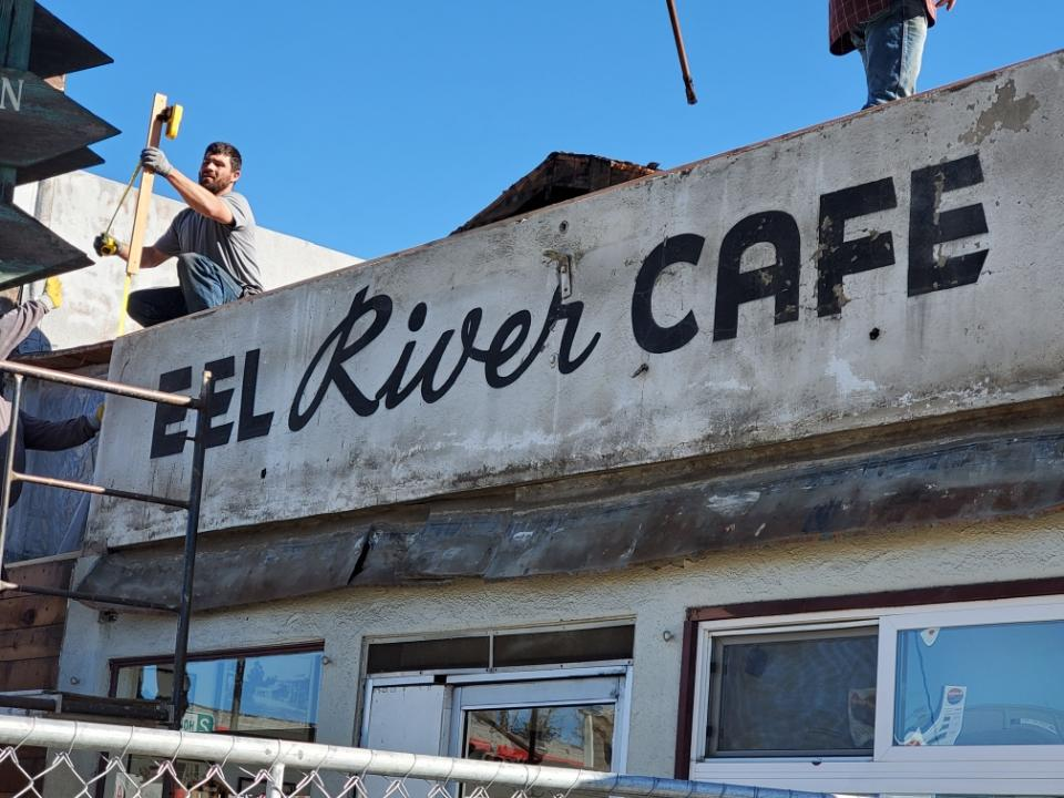 The old front of the Eel River Cafe was exposed during renovations this week.