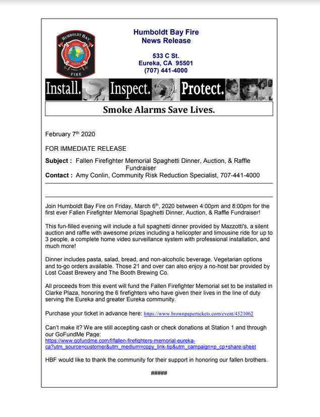 image of a press release from Humboldt Bay Fire