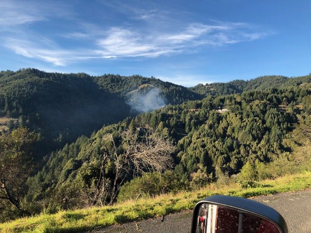 smoke from a Debris fire is Shelter Cove