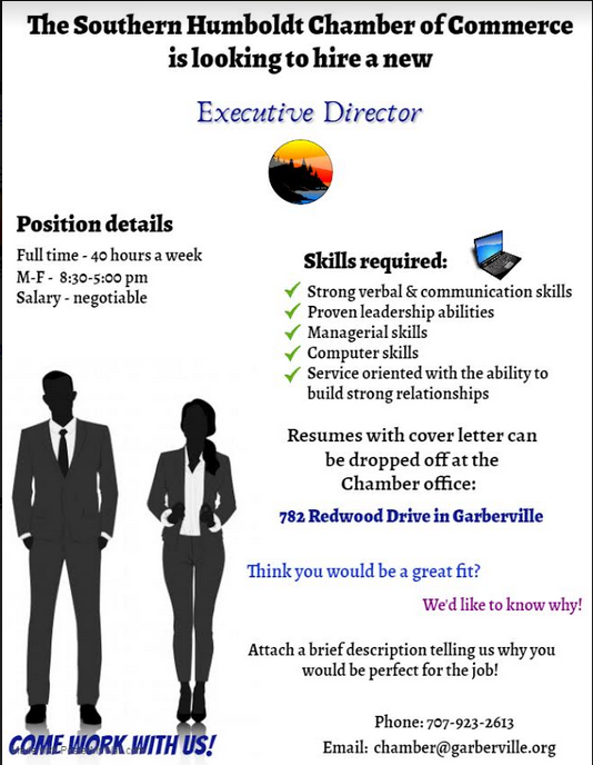 flyer from the southern humboldt chamber of commerce advertising for an executive director