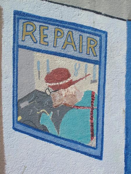 Restored Wildberries mural in Arcata.
