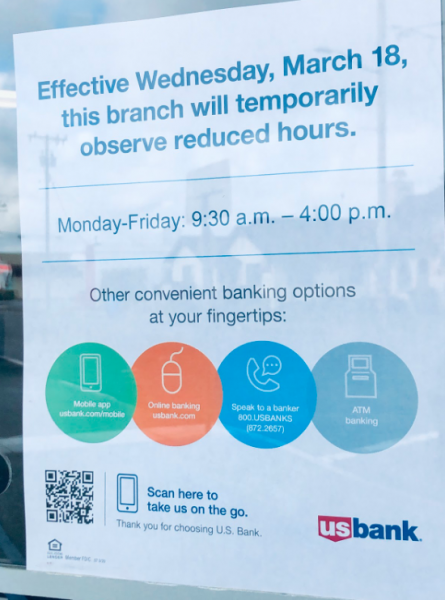 This flier was posted at the door of Henderson Center branch US Bank, in response to the Covid19 lockdown.