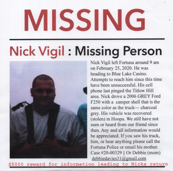 Nick Vigil missing person poster