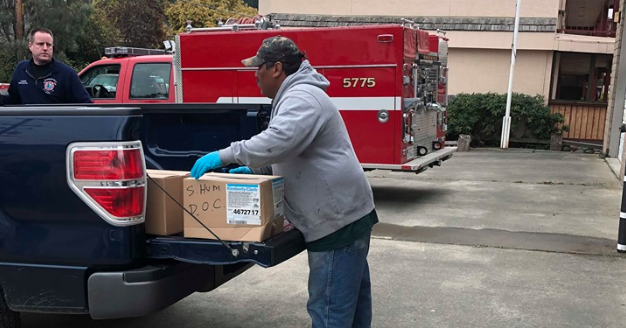 HUmboldt County OES Dropping off a shipment of supplies to Southern Humboldt.