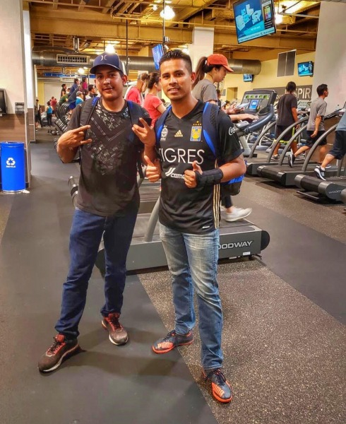 Benjamin Chavez Reynoso, the man believed to have knowledge of Victor Medina's last known movements, and Victor at a fitness center [Photograph provided by Victor's nephew Enrique Esparza]