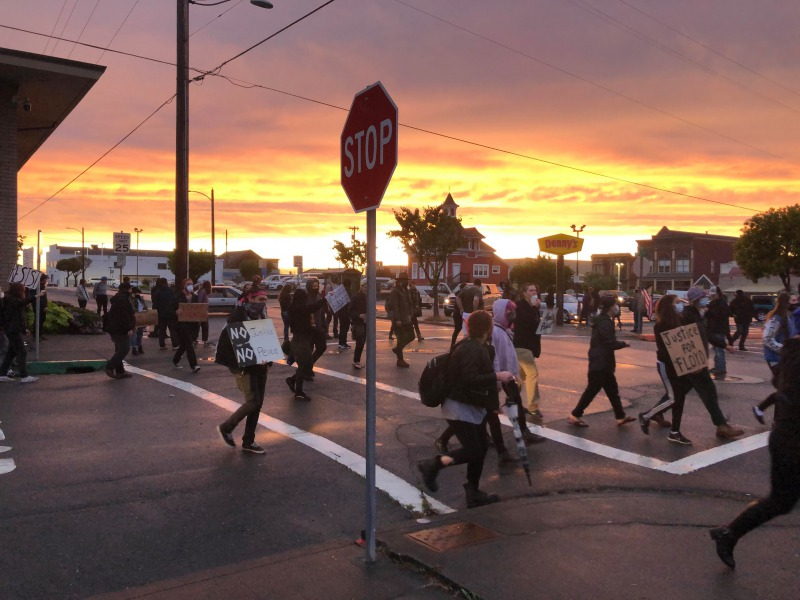 Sunset over the protest.