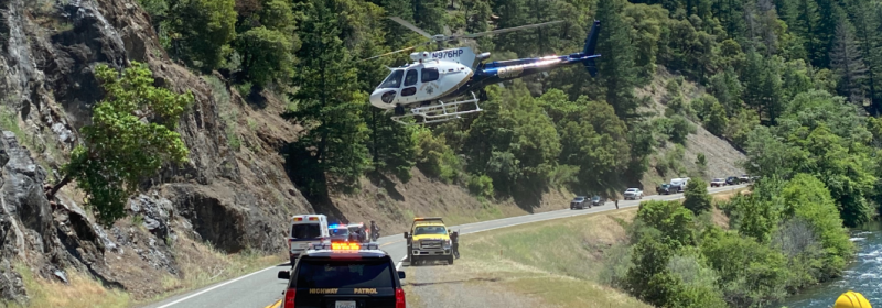 A helicopter lifts off the 299 carrying a patient from a motorcycle crash. [Photo from a person wishing to be known as Dr. Barrel Haage]