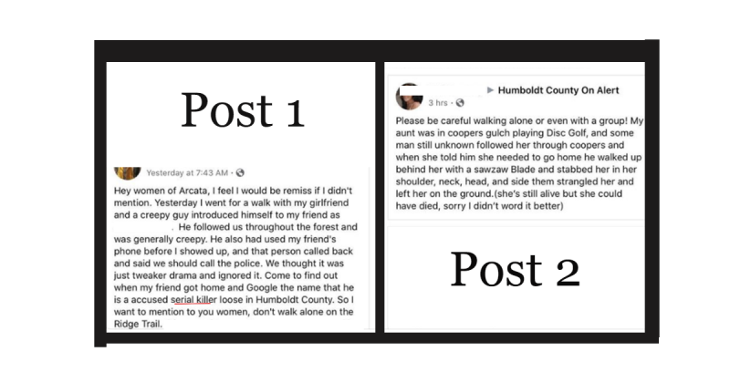 Two social media posts that were frequently paired together and shared widely were taken by many to believe that multiple women werein danger.
