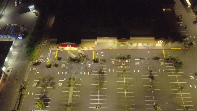 Drone view of the Target parking lot