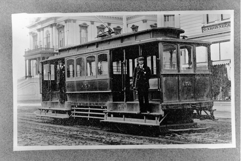 Trolley in front of the Humboldt County Courthouse. [Photo from the Palmquist Collection in the Humboldt Room Photograph Collections at the HSU Library]