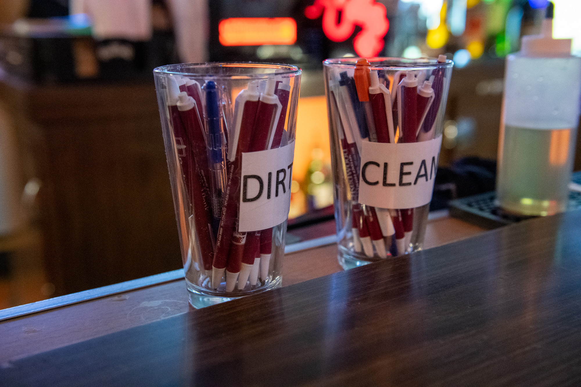AA Bar and Grill in Eureka had cups for clean and dirty pens on the bar on the first night they reopened for dine-in--last Friday night.