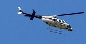blue and white helicopter