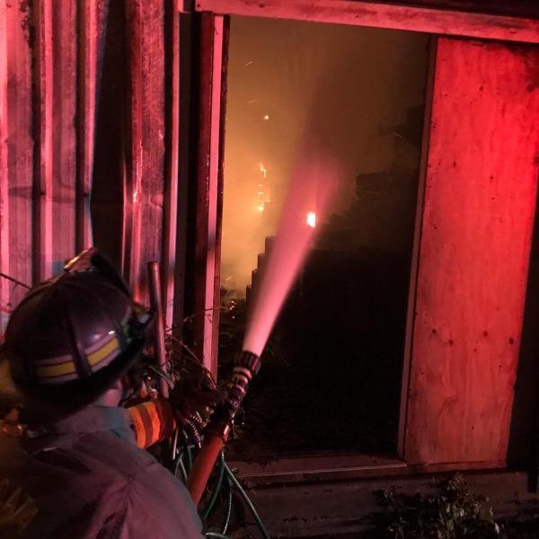 Hay barn on fire [Arcata FIre]