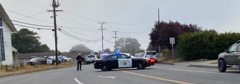 Law enforcement blocking Hiller at McKinleyville Avenue