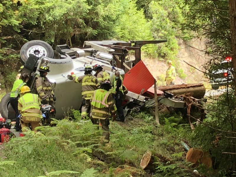 Overturned logging truck