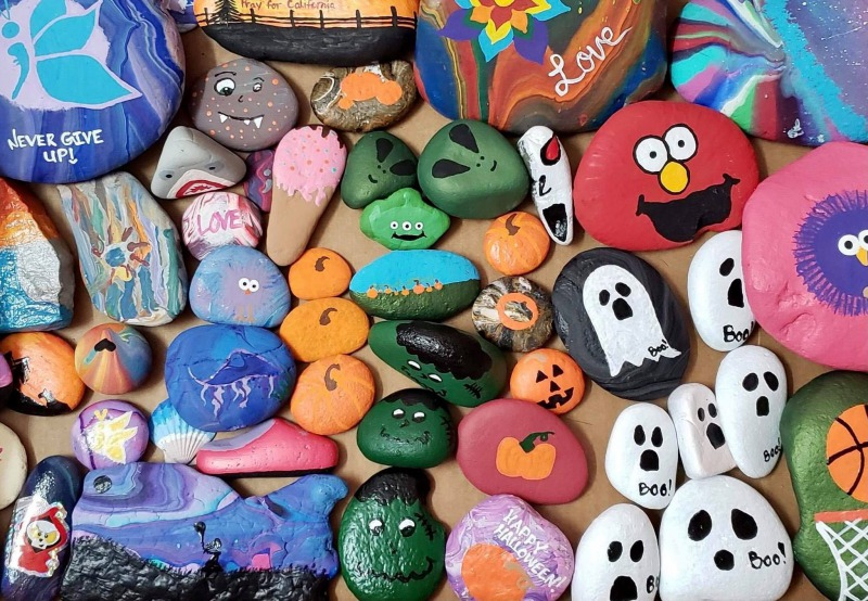 These Stoned in Humboldt rocks are hand-painted and ready to be hidden for the Halloween Hunt at Sequoia Park.