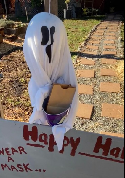"""This flying ghost will be delivering treats from 4 to 7pm on Halloween at the Have a safe and Happy Halloween!""- Still shot from a video posted on Facebook by Stephan Kullman"