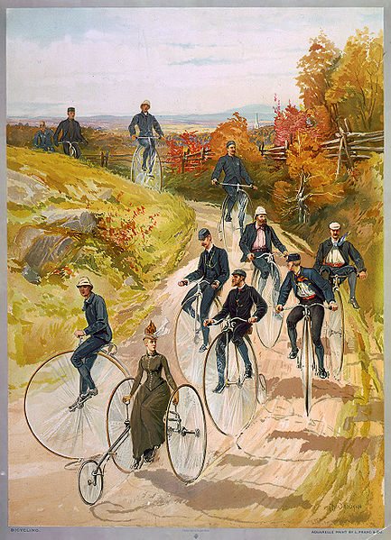 """Bicycling"", a ca. 1887 color print showing one of the few ways in which it was socially acceptable for women to ride cycles, in the years before the invention of ""safety bicycles"" and the woman's ""bicycle suit"" (see Image:Ausfahrt im Sociable um 1886 - Verkehrszentrum.JPG for another example, or compare Image:Ellimans-Universal-Embrocation-Slough-1897-Ad.png to see the radical change in the way that women went cycling over a period of just ten years). The print shows a number of men riding big-wheel or ""penny-farthing"" bicycles, while a woman is riding a three-wheeled cycle, which appears to be steered by a rod going from the lever under her right hand along the boom to the front wheel. The woman is probably riding in front partly for the reason that if she rode in back, the men would constantly have to be looking behind them, to make sure that they didn't quickly open up large gap by going much faster than she could. Note how the man on the far right has his legs over the handlebars as he descends the hill to ensure that, should the large front wheel of the bicycle he is riding hit a rock, be caught in a rut or otherwise become unable to turn, he would be thrown off feet first, as opposed to head first (""taking a header"") if seated with his feet on the pedals."